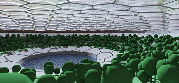 Concepto artístico de cúpulas subacuáticas habitables en Marte
